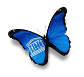 Flag of UNESCO butterfly, isolated on white — Stock Photo