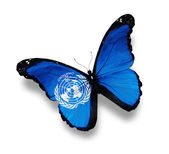Flag of WMO butterfly, isolated on white — Stock Photo