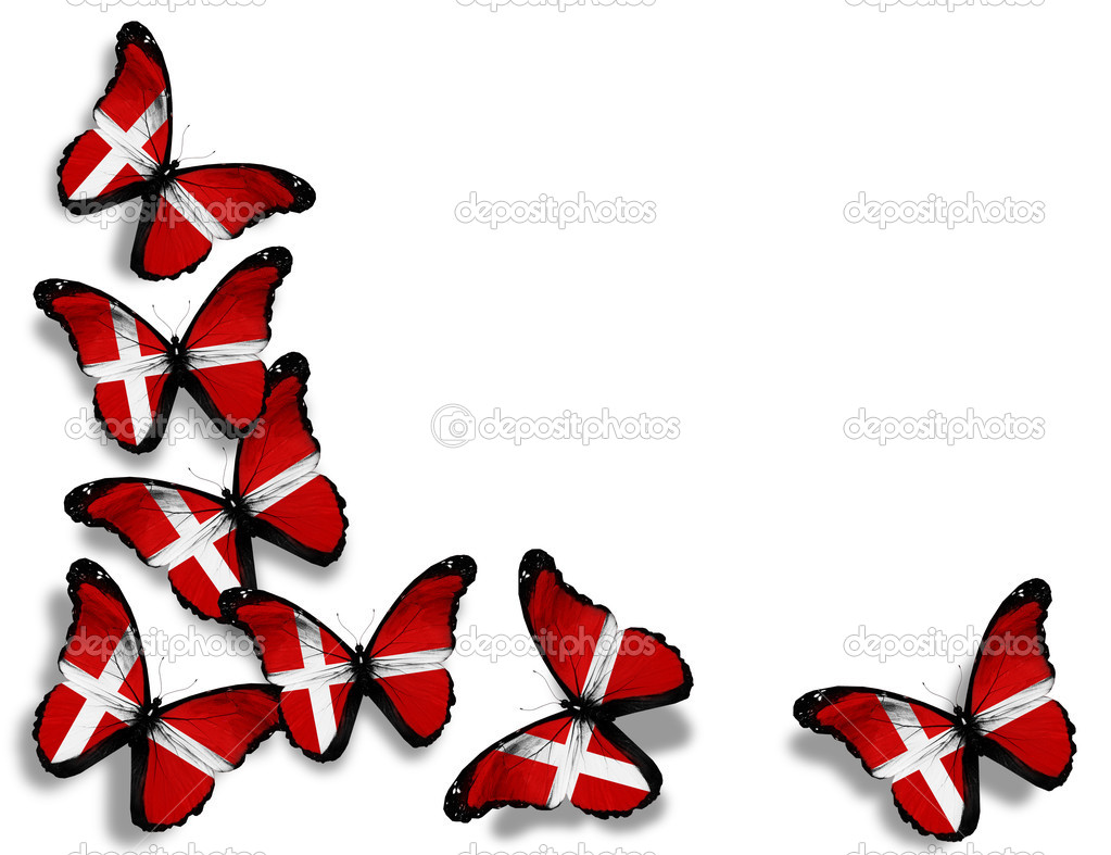 Danish flag butterflies, isolated on white background — Stock Photo #9648390