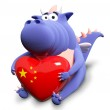 Blue dragon and big heart with Chinese flag, isolated on white — Stock Photo