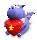 Blue dragon and big heart with Vietnamese flag, isolated on whit — Stock Photo
