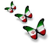 Tre farfalle bandiera iraniana, isolati su bianco — Foto Stock