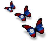 Tre farfalle laotiano bandierina, isolati su bianco — Foto Stock