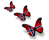 Three Norwegian flag butterflies, isolated on white — Stock Photo