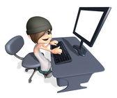 3d человек, работая на компьютере — Стоковое фото