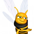 Bee showing a blank board — Stock Photo