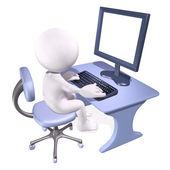 3d mężczyzna pracujący na komputerze — Zdjęcie stockowe