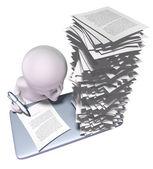 Zajęty człowiek z dużo pracy do zrobienia — Zdjęcie stockowe