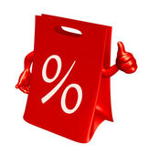 Boş satılık kırmızı çanta alışveriş — Stok fotoğraf
