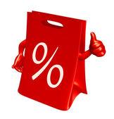 Leer warenkorb rote tasche zu verkaufen — Stockfoto