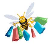 Nákupní včela — Stock fotografie