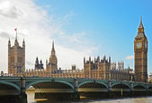 Big ben y westminster bridge — Foto de Stock