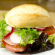 Burger on plate — Stock Photo #9694628