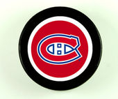 Montreal Canadiens Hockey Puck — Stock Photo