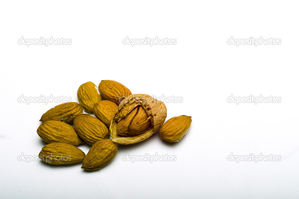 Almonds shell and kernel  Stock Photo #8421218
