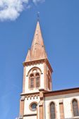 Renovated church tower in St Lys, France — Stock Photo