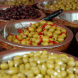 Olive display on market stall — Stock Photo