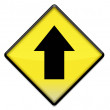 Photo: Yellow road sign graphic with arrow up