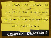 Complex Equation written on yellow notes — Stok fotoğraf
