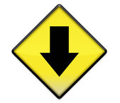 Yellow road sign graphic with arrow down — Stok fotoğraf