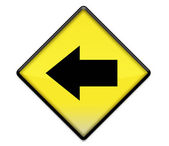 Yellow road sign graphic with left arrow — Stok fotoğraf