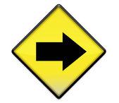 Sarı yol işareti grafiği ile sağa ok — Stok fotoğraf