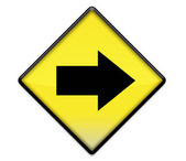 Yellow road sign graphic with arrow right — 图库照片