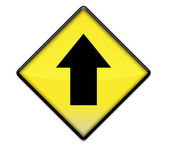 Sarı yol işareti grafiği ile yukarı ok — Stok fotoğraf
