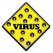 Yellow virus sign with holes — Stok fotoğraf