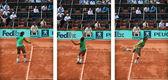 Rafel Nadal Service action — Stock Photo