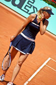 Maria Sharapova during a match at Roland Garros in 2008 — Stok fotoğraf