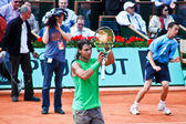 Rafael Nadal during a match at Roland Garros in 2008 — Stock Photo