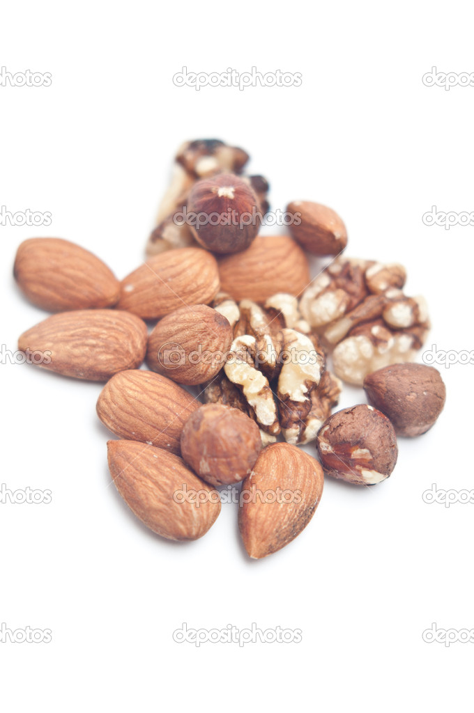 Nut mix with almonds and walnuts on white  Stock Photo #9836096