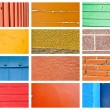 Stock Photo: Colorful wall and wood texture collage