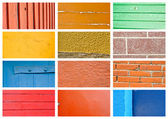 Colorful wall and wood texture collage — Stok fotoğraf