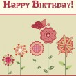 Stock Vector: Happy birthday greeting card