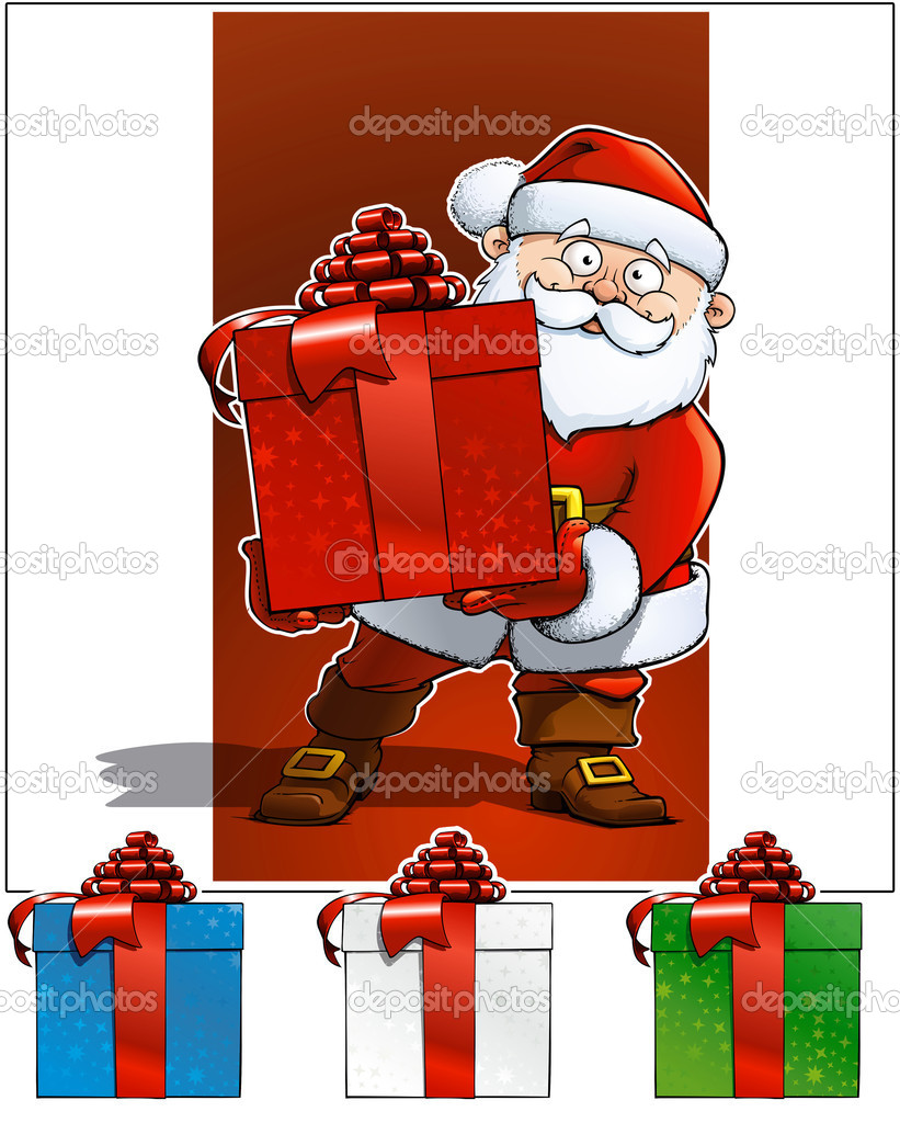 Santa Holding a big red X-mas gift. Blue, white and green colors gifts included in separate layers. Background, Shadow and white outline in separate layers too. — Stock Vector #8352892