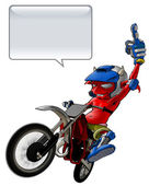 Little Devil Riding a Motto Cross (Clipping Path) — Stock Photo