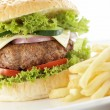 Burger with swallow depth of field — Stock Photo