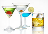 Alcohol line up — Stock Photo