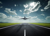 Airplane on a sunny day — Stock Photo