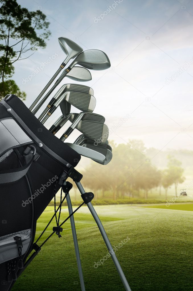 Close up of golf equipment on the course  Stock Photo #8989881