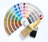 Two paint brush and color chart — Stock Photo