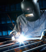 Welding in workshop — Stock Photo