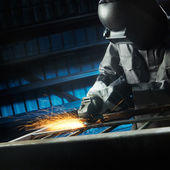 Grinding after weld — Stock Photo