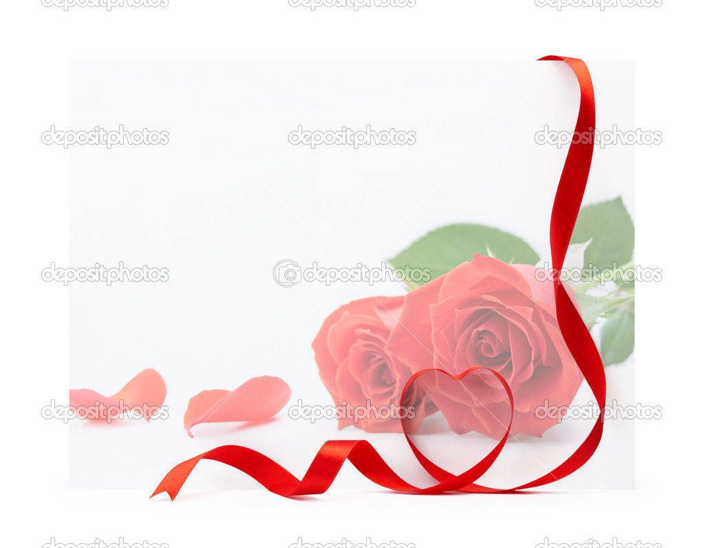 Red rose valentine card with heart shape ribbon — Stock Photo #9137719
