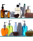Bathroom products on shelves — Stock Photo