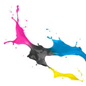 CMYK Paint Splash — Stock Photo