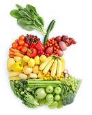 Apple bite: healthy food — Stock Photo