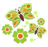 Butterflies and flowers — Stock Vector